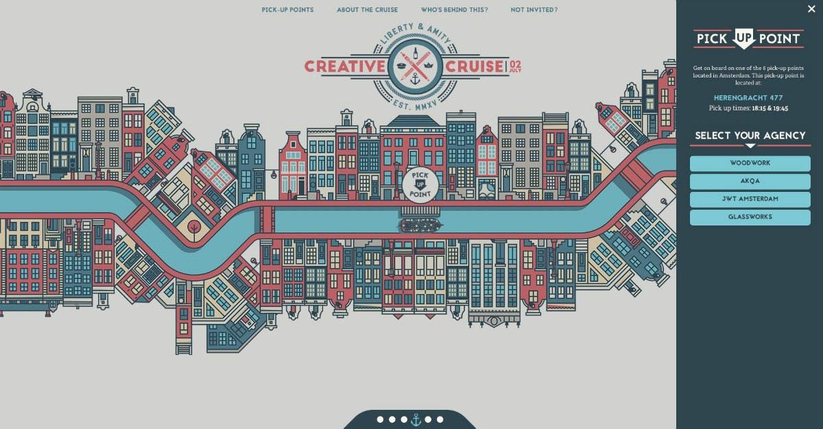 Die Navigation von Creative Cruise ist fast schon eine virtuelle Kanalrundfahrt in Amsterdam. (Screenshot: Creative Cruise)