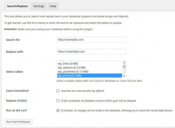 Die notwendigen Eingaben für die Umstellung der WordPress-Site auf HTTPS im Better-Search-Replace-Plugin. (Screenshot: eigene Installation)