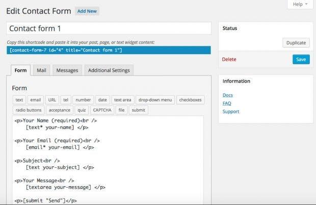 """Sehr beliebt, aber nicht die bedienfreundlichste Lösung: Das WordPress-Formular-Plugin """"Contact Form 7"""". (Screenshot: WordPress.org)"""