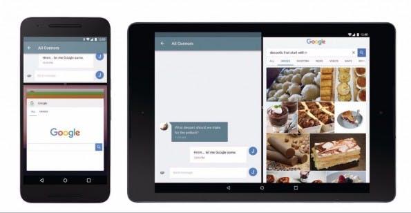 """Mit Android 7.0 """"N"""" hält der Multi-Window-Modus sowohl auf Tablets als auch auf Smartphones Einzug. (Bild: Google)"""