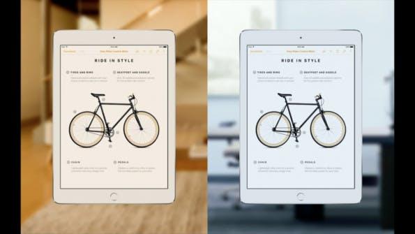 True Tone Display: Zwei Lichtsensoren messen das Umgebungslicht und passen die Farbwiedergabe darauf an. (Screenshot: Apple.com)