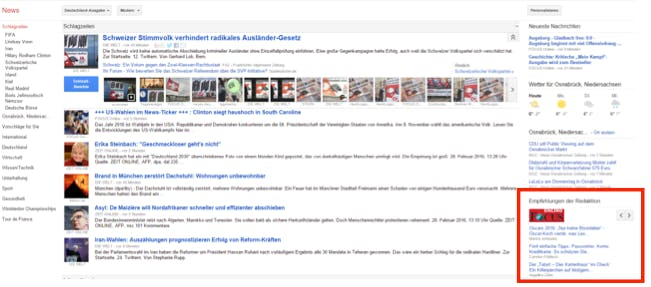 Google News Editors Pick