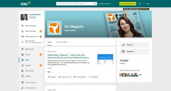 Auch bei XING können Nutzer neben beruflichen Kontakten ausgewählten Publishern folgen. (Screenshot: XING)
