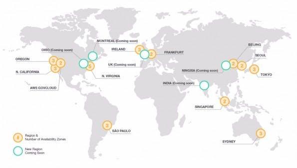 Amazon-Web-Services: Die verschiedenen Cloud-Produkte sind weltweit in mehrere Zonen unterteilt. (Grafik: Amazon)