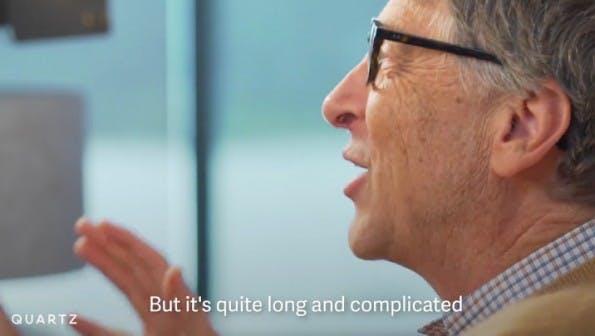 """""""But it's quit long and complicated!"""" – manche Bücher hätte Bill Gates lieber nicht angefangen. (Screenshot: Quartz-Facebook)"""