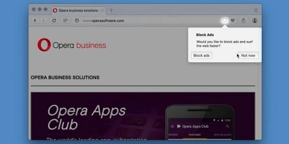 Opera-Browser soll mit eingeschaltetem Adblocker Seiten schneller laden. (Bild: Opera)