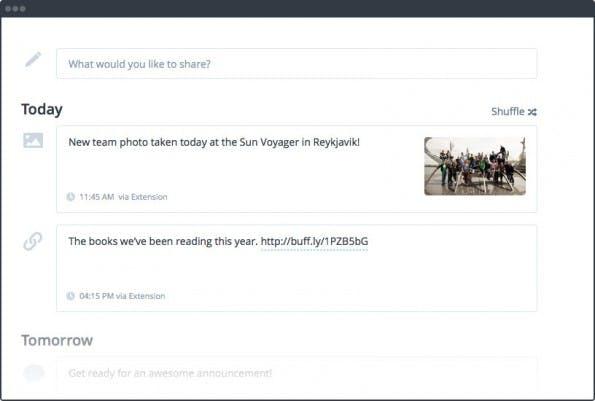 Unter den Hootsuite-Alternativen für das Planen von Beiträge hat sich Buffer auf diese Funktion spezialisiert. (Screenshot: buffer.com)