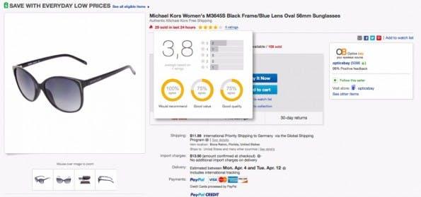 Hier wird mit einem Klick auf die Bewertungsleiste unter der Artikelbezeichnung ein Overlay eingeblendet, dass die Bewertungsdetails aufschlüsselt. (Screenshot: eBay)