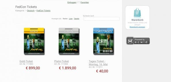 Der Fedcon-Ticketshop. (Screenshot: Fedcon.de)