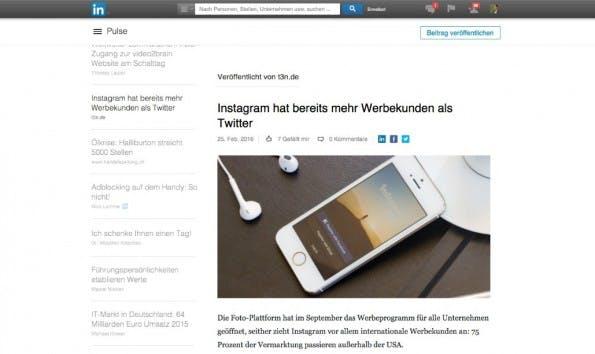 """Mit """"Pulse"""" bietet LinkedIn seinen Nutzern die Möglichkeit, eigene Blogbeiträge auf der Plattform zu erstellen und zu teilen. (Screenshot: LinkedIn)"""