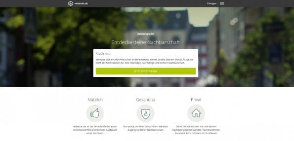 Ein Netzwerk für die Nachbarschaft: Nebenan.de will es Menschen im selben Wohngebiet erlauben, auch digital in Kontakt zu treten. (Screenshot: nebenan.de)