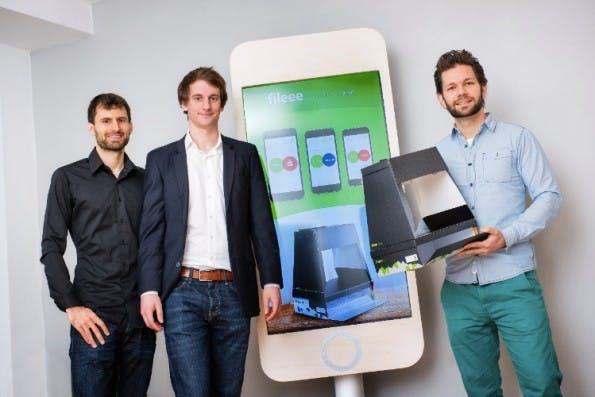 Arne Osthues, Marius Gerwinn und Eike Thies (v.l.n.r.) haben das Startup Fileee gegründet. (Foto: Fileee)