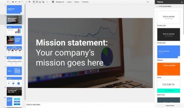 Google-Präsentationen hilft Startup-Gründern jetzt bei der Erstellung ihres Pitchdecks. (Screenshot: Google)