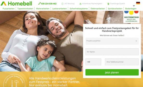 Das Startup Homebell kommt auf eine Bewertung von 27 Millionen Euro.