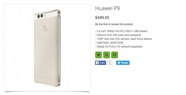 Das Huawei P9 ist vor offiziellem Launch im Onlineshop Oppomart gesichtet worden. (Screenshot: Oppomart)