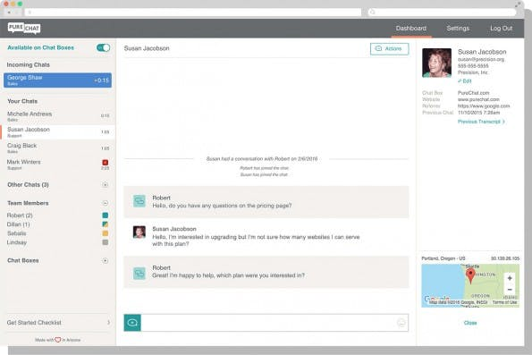 Chat-Ansicht der LiveZilla-Alternative Pure Chat. (Screenshot: Pure Chat)