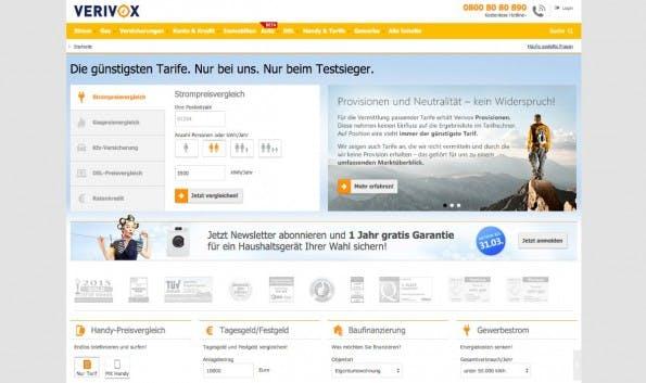 Online-Vergleichsportale: Europäische Kommission und Portalanbieter haben sich auf einen Zehn-Punkte-Plan geeinigt. (Screenshot: verivox.de)