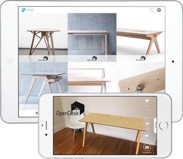 Möbel-Shopping mit Augmented Reality: Pair zeigt euch, wie neue Möbel in eurem Zuhause aussehen würden. (Grafik: Pair)