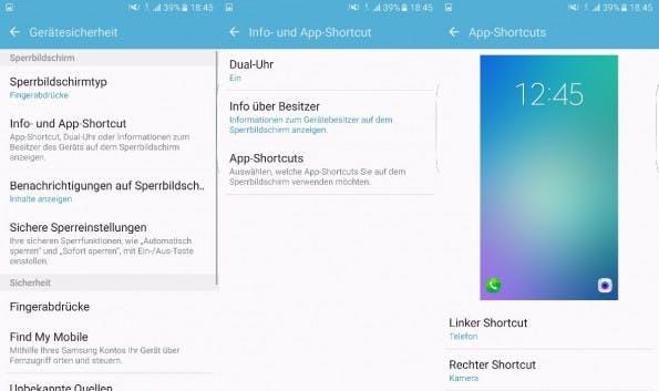 Andere Apps auf den Lockscreen zum Schnellstart anlegen? Kein Problem. (Screenshot: t3n)