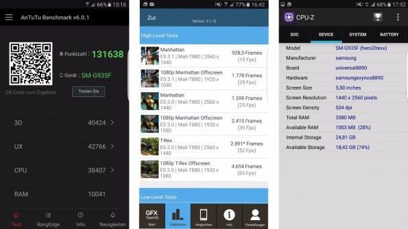 Das Samsung Galaxy S7 (edge) liefert im Benchmark beeindruckende Resultate. (Screenshots: t3n))