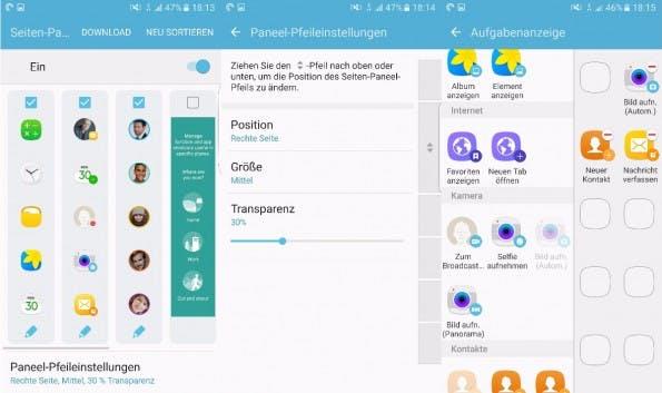 Die Seitenleiste des Galaxy S7 edge könnt ihr umfangreich anpassen. (Screenshot: t3n)