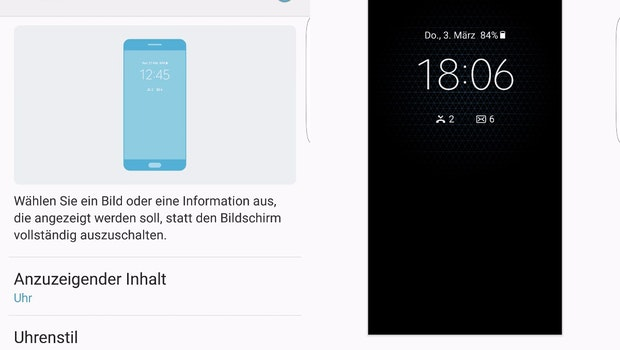 Die Einstellungsoptionen des Always-On-Displays beim Samsung Galaxy S7 (edge). (Screenshots: t3n)