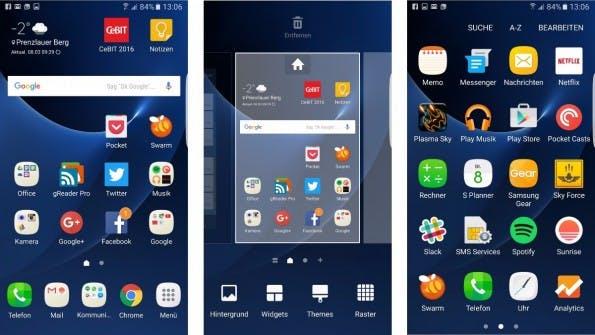 Die Nutzeroberfläche des Samsung Galaxy s7 (edge). (Screenshots: t3n)