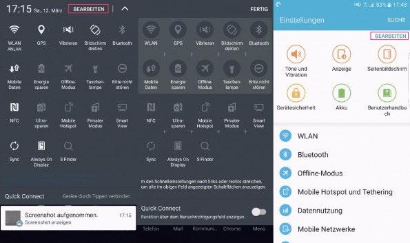 Die Schnelleinstellungen könnt ihr ganz rasch nach eigenen Wünschen ändern – auch im App-Drawer. (Screenshot: t3n)