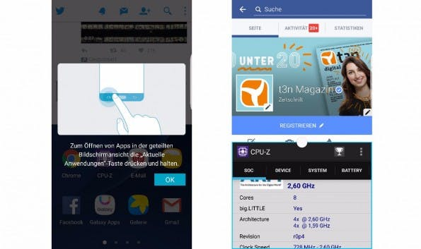So könnt ihr zwei Apps gleichzeitig auf den Homescreen des Galaxy S7 legen (Screenshot: t3n)