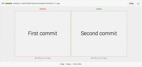 Git: Das Sketch-Plugin macht den Vergleich zweier Versionen eines Entwurfes deutlich einfacher. (Screenshot: Sketch-Git-Plugin)