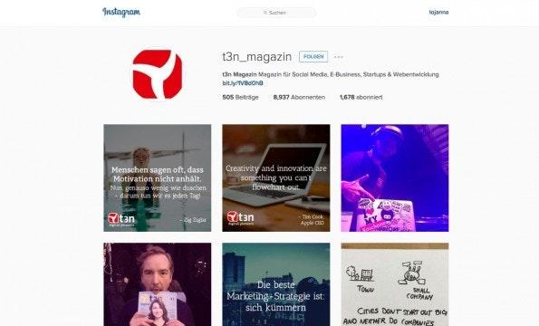 Visuelle Inspiration: t3n bei Instagram. (Screenshot: Instagram)
