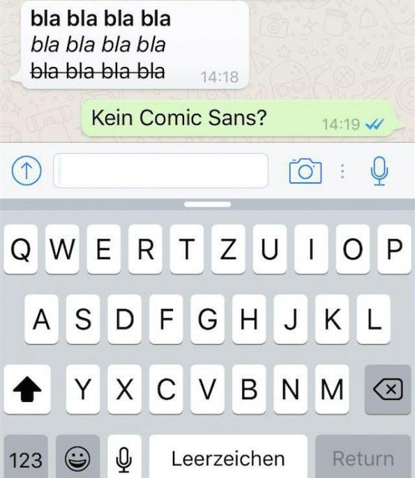Fette Funktion: WhatsApp kommt mit neuem Killer-Feature an den Start: Fett, Kursiv, Durchgestrichen. (Screenshot: t3n.de)