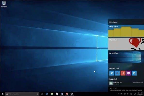 """Das Windows 10 """"Anniversary Update"""" hat den sogenannten Ink Workspace im Schlepptau. (Screenshot: Microsoft="""
