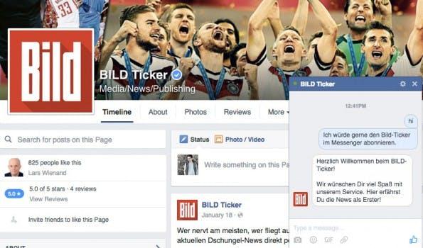 Transfer-Gerüchte per Chat: Bild verschickt Nachrichten via Messenger. (Screenshot: t3n.de)