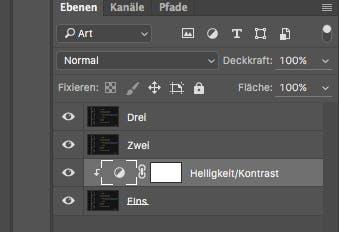 Im Bild ist gut zu sehen, das sich der Ebeneneffekt nur auf die Ebene1 bezieht.(Screenshot: Adobe Photoshop)