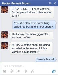 Doc Brown antwortet Fans im Facebook-Chat. (Screenshot: Digiday)
