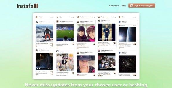 Monitoring- und Analytics-Tools für Instagram im Überblick – Instafall. (Screenshot: t3n.de)