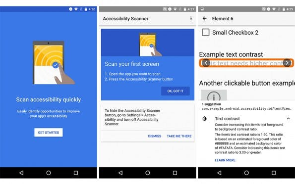 Barrierefreiheit: Googles Accessibility Scanner untersucht Apps und gibt Entwicklern dann Tipps zur Verbesserung. (Screenshot: Google)