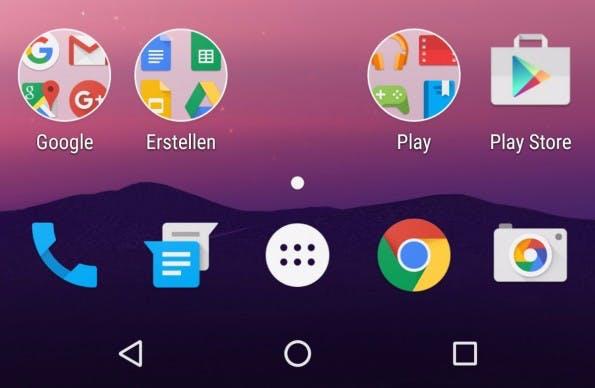 Android N bringt eine neue Ordneransicht. (Screenshot: t3n)