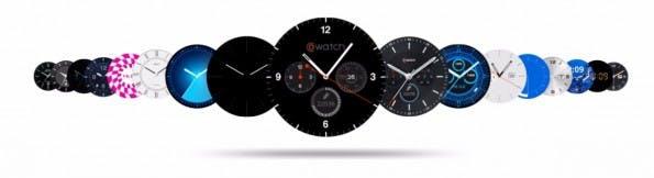 Das Betriebssystem Cronologics bietet für die CoWatch viele Watchfaces. (Bild: iMCO)