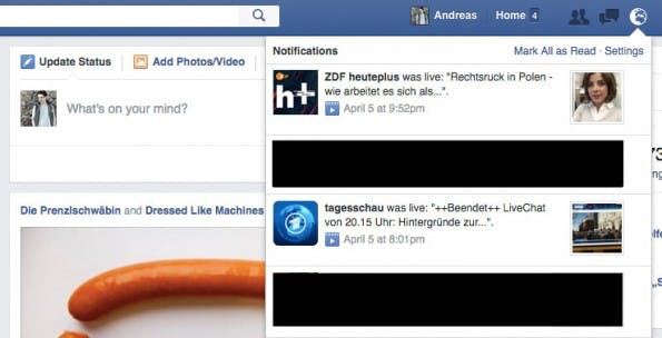 Facebook-Live-Videos werden massenhaft in die Benachrichtigungen der Nutzer gespült. (Screenshot: t3n.de)
