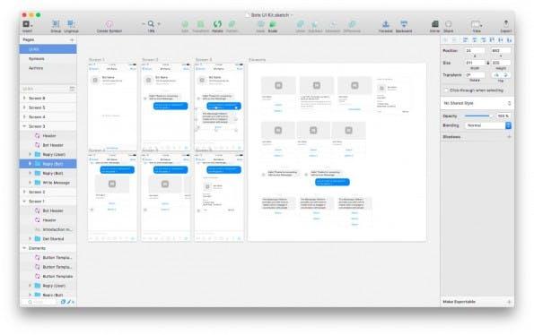 Mit diesem kostenlosen UI-Kit könnt ihr euren Bot für den Facebook-Messenger in Stene setzen. (Screenshot: Sketch)