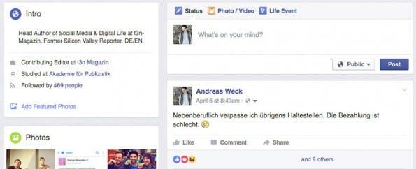 """""""What's on your mind?"""" – derartige Sätze sollen dich zu mehr privaten Statusupdates verleiten. (Screenshot: t3n.de)"""