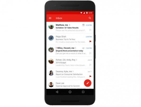 Die Gmail-App für Android unterstützt jetzt auch Exchange-Konten. (Grafik: Google)