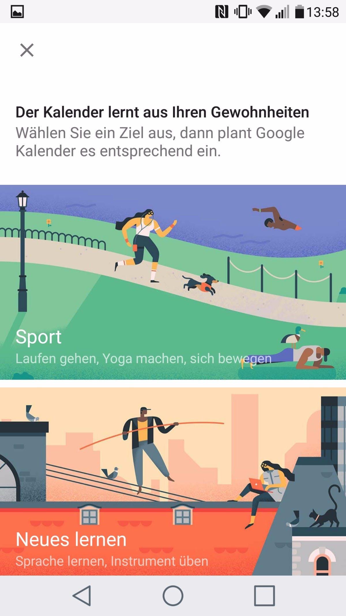 Google Kalender Ziele. (Screenshot: t3n)