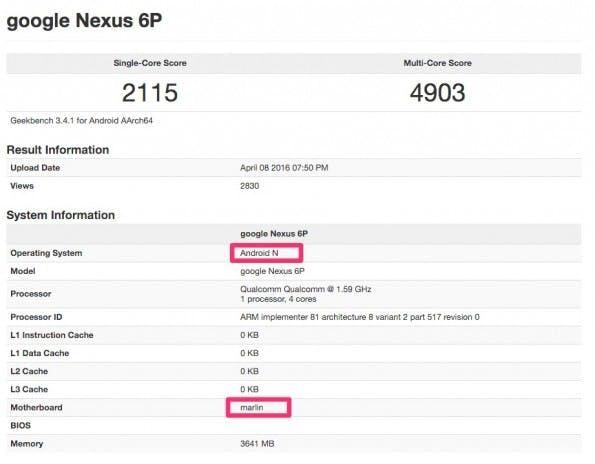 """Ein Lebenszeichen vom """"Marlin"""" – als Nexus 6P (2016). (Screenshot: GFX-Bench; t3n)"""