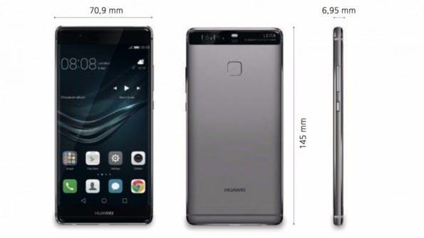 Die Abmessungen des Huawei P9. (Bild: Huawei)