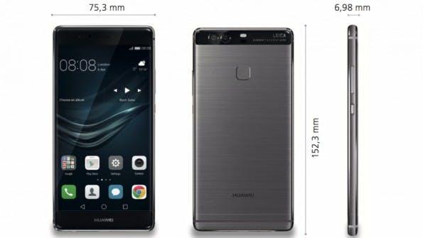 Die Abmessungen des Huawei P9 Plus. (Bild: Huawei)