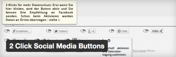 "Das Plugin ""2 Click Social Media Buttons"" kann helfen. (Screenshot: H.-Peter Pfeufer)"