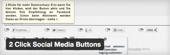 """Das Plugin """"2 Click Social Media Buttons"""" kann helfen. (Screenshot: H.-Peter Pfeufer)"""